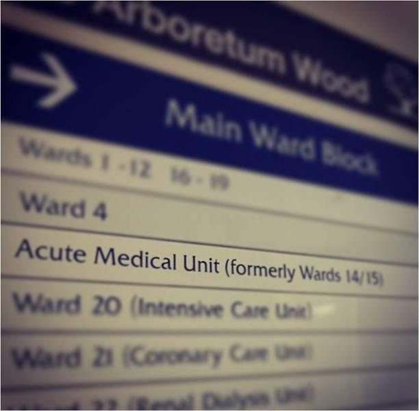 AMU highlighted on main ward block signage