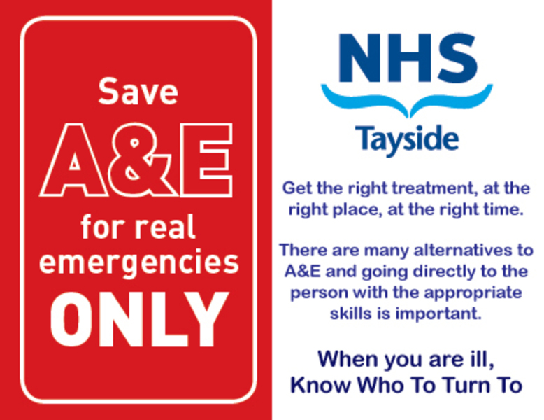 Know who to turn to image - save a and e for real emergencies